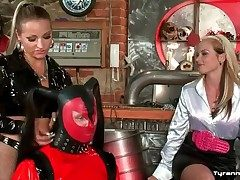 Latex sissy raiment on guy spanked hard by mistresses