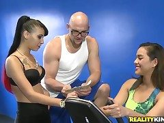 Twosome unintended bald dude gets a catastrophe to bang