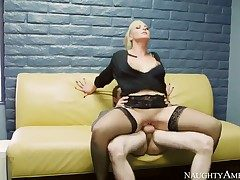 Attractive blonde demoiselle CJ Jean enjoys Brick Dangers hard dig up