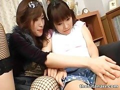 Inclusive with fishnets makes parts with Japanese dickgirl