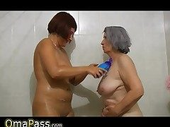 BBW gray obese Granny with old Mature girl in bath