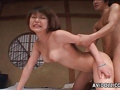 Hard Japanese doggystyle banging with creampie