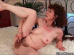 Classy mature boned in her wet fur covered pussy