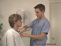 Cute doctor blows his patient passionately
