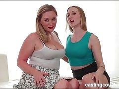 Curvy bombshell on the casting sofa for lesbian sex