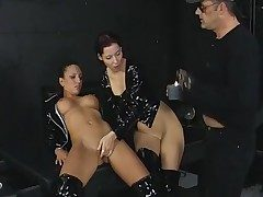 3some in the basement with black spandex chicks