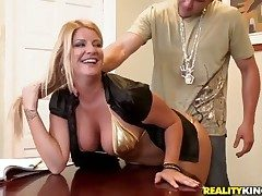 Surprising blonde bawd Robbye Bentley couldnt raw this interview with drag inflate racy chest