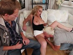 Amusing ambisextrous fuck with a horny cosset Bella Karina, David Gold added to Denis Reed